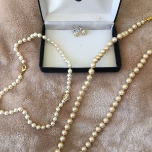 Pearl necklaces and pair costume earrings
